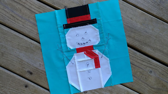Snowman quilt block for Christmas Quilt Along