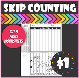 Woodland Animals Skip Counting Cut and Paste Worksheets