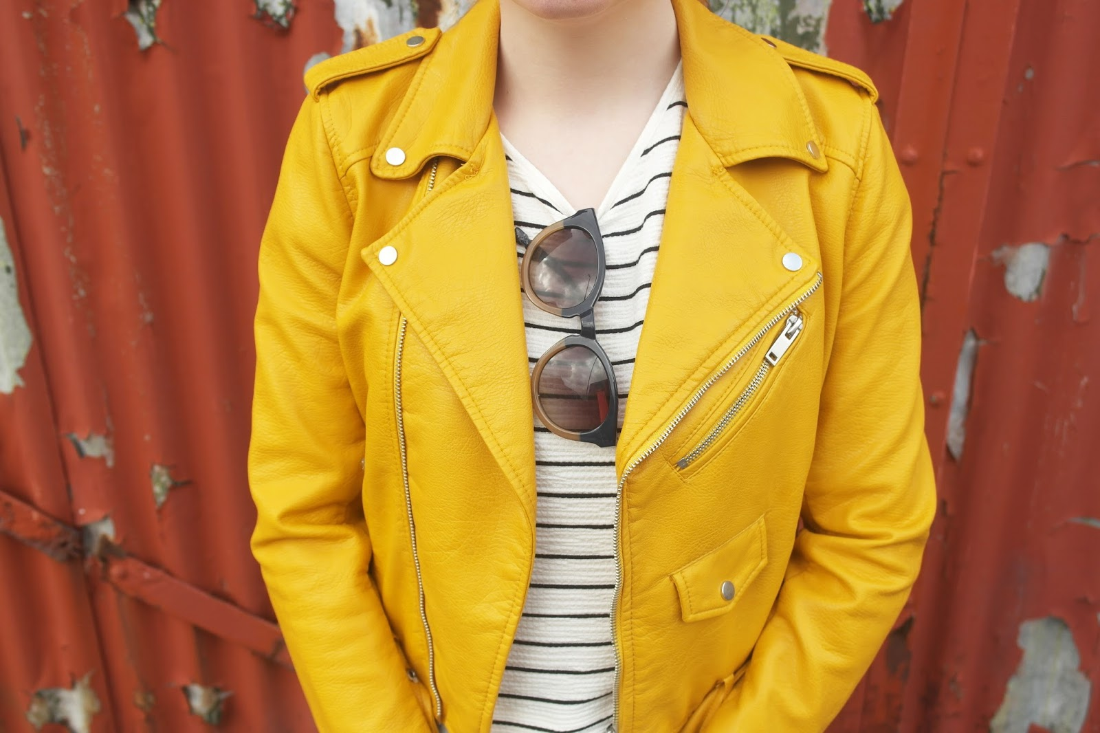Leather jacket yellow zara - I Styled It With This Sheer Black And White Top Also From Zara Which Fits Perfectly Against The Yellow As I Didn T Want Anything Too Harsh On It