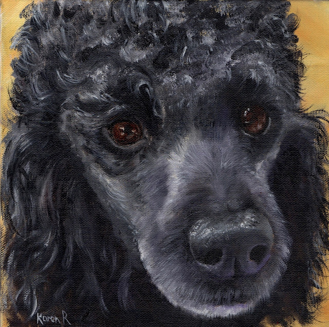 a woolly one - an oil painting of a black, standard poodle