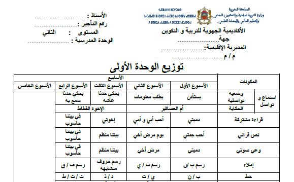 التوزيع لجميع الوحدات المستوى الثاني ابتدائي word و pdf