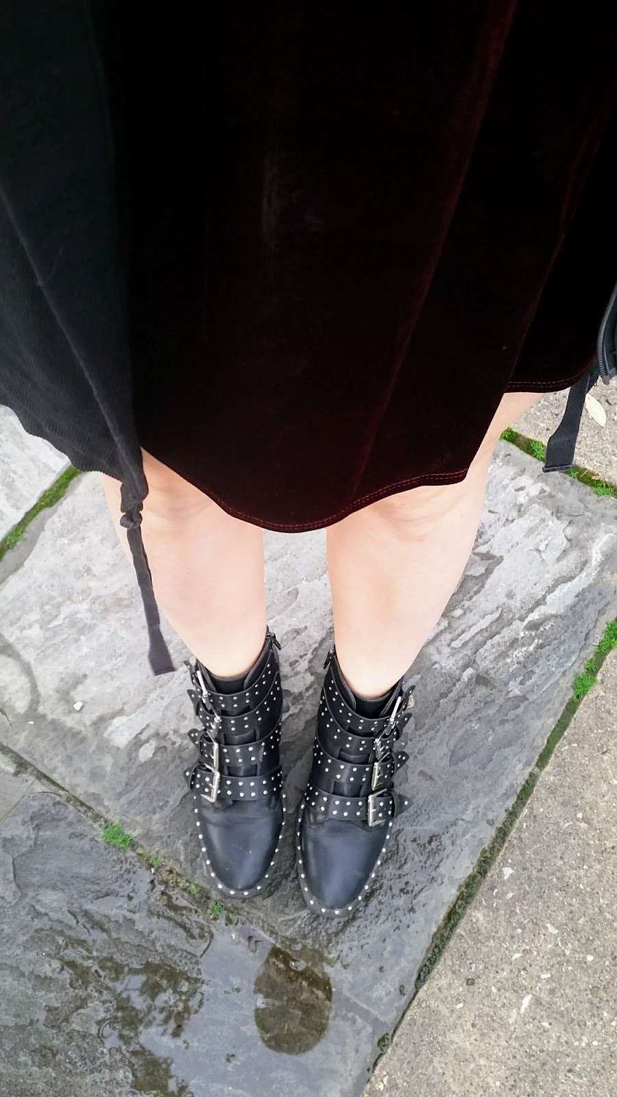 Oxblood velvet skirt, studded boots