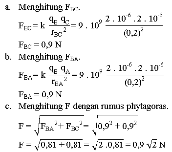Menghitung gaya listrik tiga muatan berbentuk segitiga