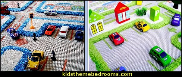 Traffic carpet - three dimensional  transportation theme bedroom decorating ideas - Planes, trains, cars and trucks decor - transportation bedroom ideas -  transportation vehicles theme bedrooms - tire throw pillows - cars trucks wall decals - transportation bedding - police cars - polce bedding - heroes bedding