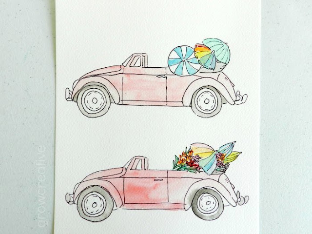 Pink convertible watercolor illustrations by Elise Engh