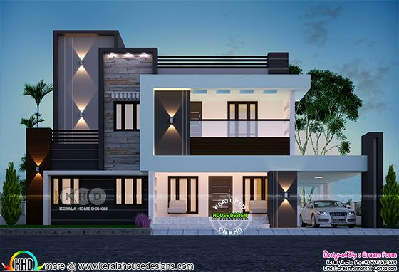 4 bedroom modern flat roof home plan 3810 square feet
