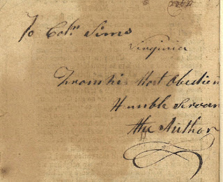 Inscription by Stephen Bradley to Colonel Sims of Virginia