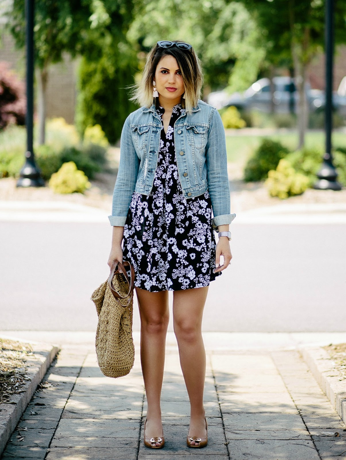 cropped denim jacket, tory burch wedges