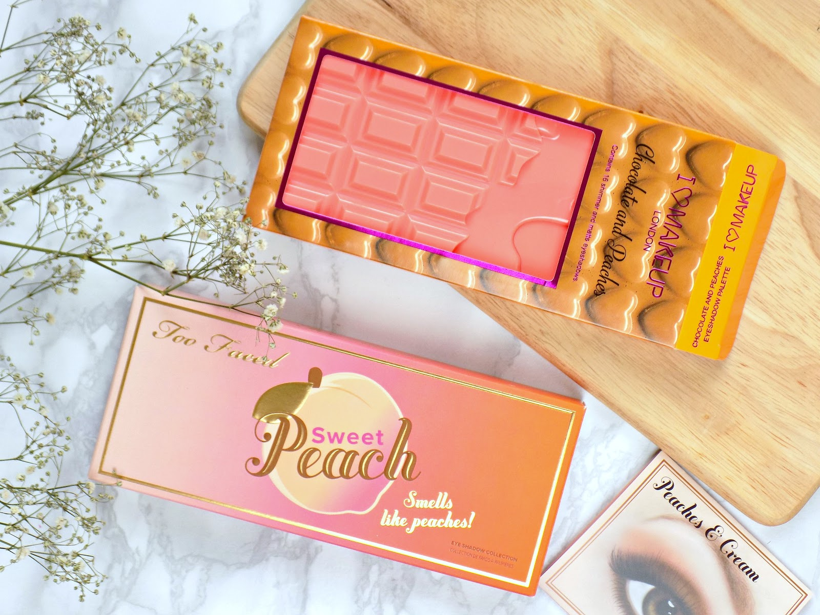 Too Faced Sweet Peach palette vs I Heart Makeup Chocolate And Peaches palette