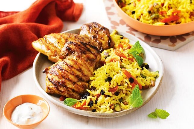 Barbecue Chicken With Persian Rice Salad Recipe Lebanese Recipes