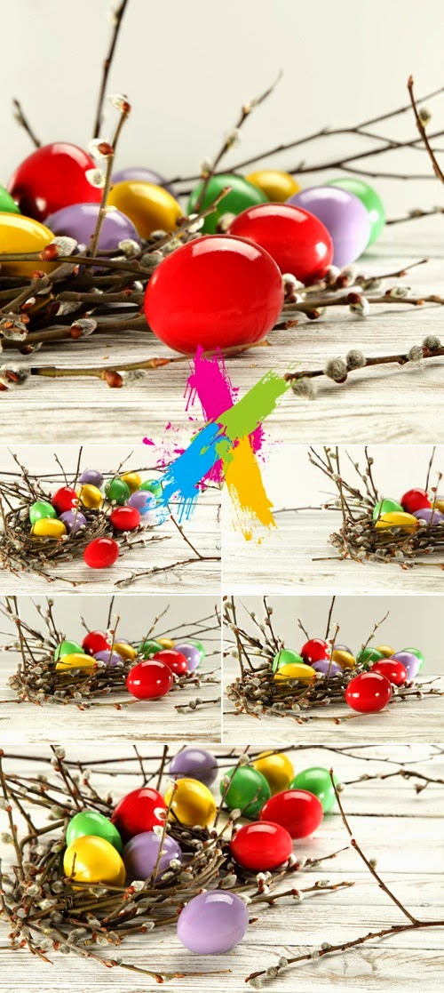 Colored Easter Eggs on Wooden background UHQ wallpapers