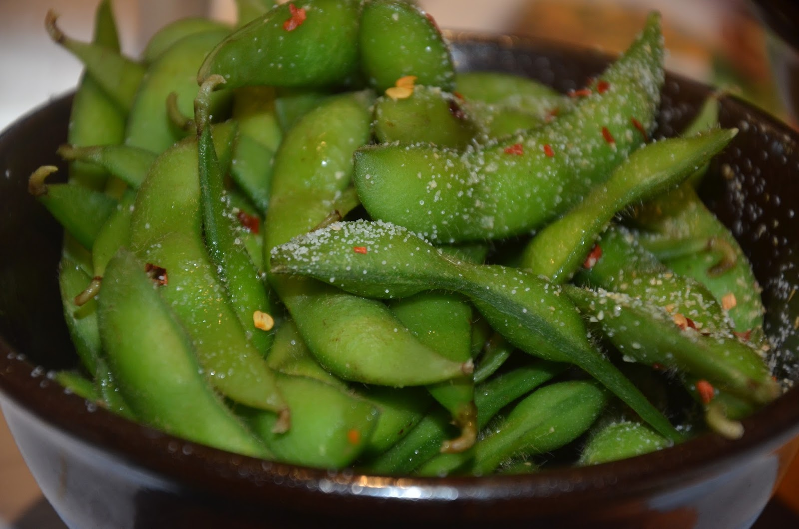 salt and chilli on edamame soya beans