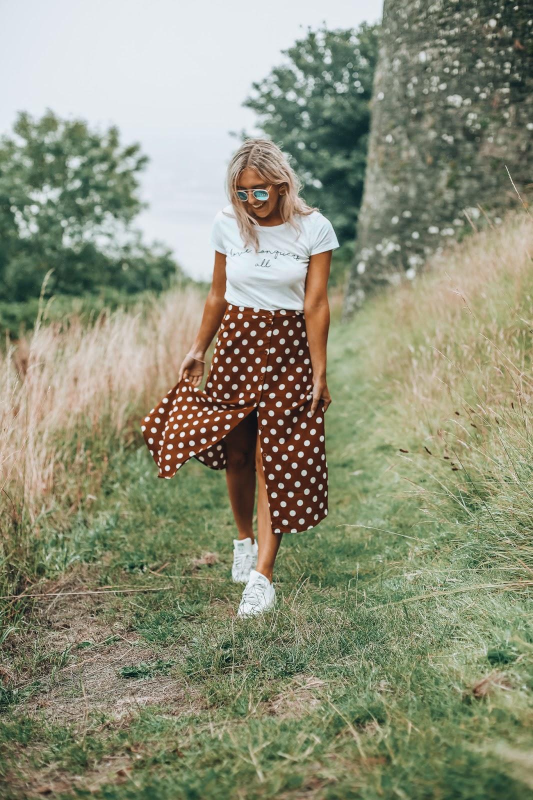 brown polka skirt
