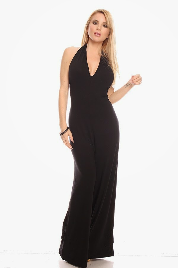 25799545b16d This sexy jumpsuit features a halter style low v shape front, sleeveless,  low back style. Jumpsuit length measures at about 58 inches.