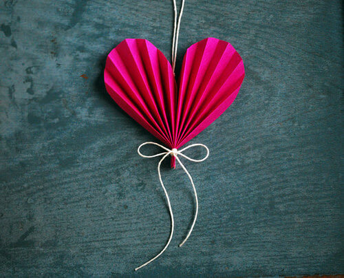 hot pink folded heart ornament