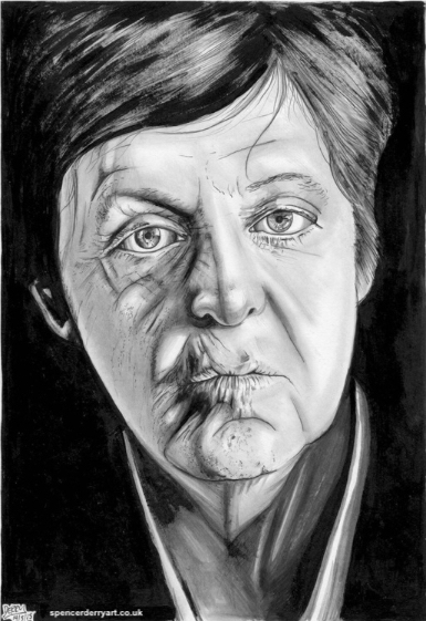 Original hand drawn portrait art study of The Beatles Legend, Sir Paul McCartney. Size A4: 21 x 29.7cm 220 gsm white paper (not framed) Media: Pencil, Ink and acrylic paint. Signed and Dated by Artist Spencer J. Derry in 2015.