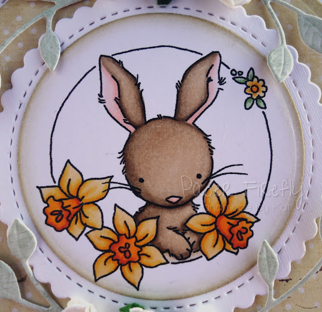 Floral Spring fancy folded card featuring bunny with daffodils (image by LOTV)