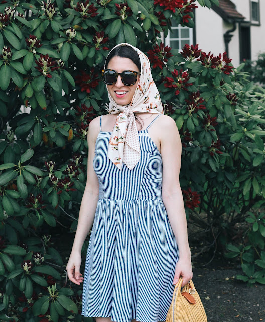 Striped Fit & Flare Dress New England Style