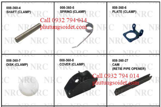 Shaft (Clamp) 008-360-4 Spring (Clamp) 008-360-5, Plate (Clamp) 008-360-6 Dissk (Clamp) 008-360-7 Cover (Clamp) 008-360-8 Cam (Retie Pipe Opener) 008-360-27 Spring (Clamp) 008-360-33Cover (Case) 008-370-3
