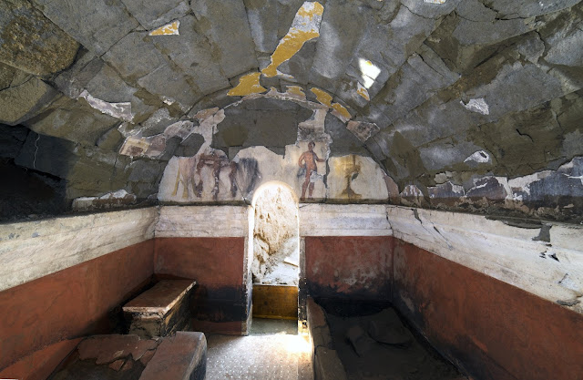 Painted tomb discovered in Cumae: A banquet frozen in time