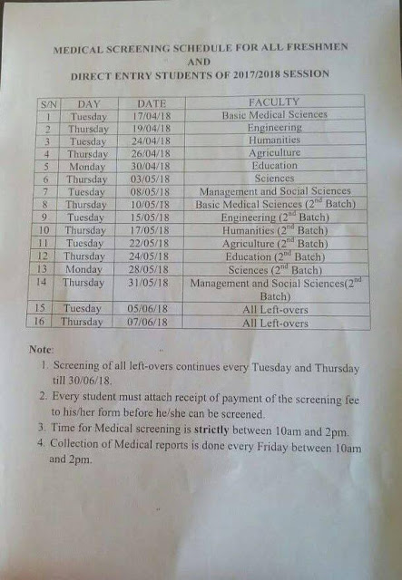 FUNAI 2017/2018 Medical Screening Time-Table for New Students