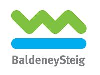 Wegzeichen des BaldeneySteigs. Eine grün gezackte Linie auf einem blauen Strich