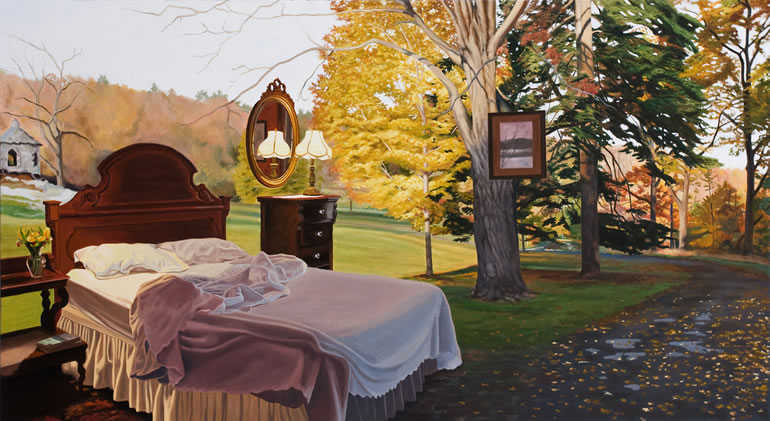 03-Fall-Away-Jennifer-Presant-Here-and-There-Surreal-Oil-Paintings-www-designstack-co