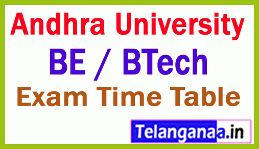 Andhra University BE / BTech 1st Year End  Special Exam Time Table