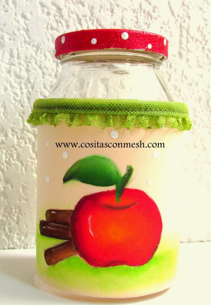 C mo pintar una manzana y decorar frascos de vidrio for Decoracion de frascos de vidrio para cocina