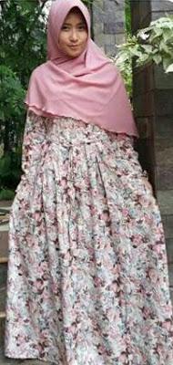 Baju Gamis Katun Jepang Motif Bunga Dan Polkadot Sedang