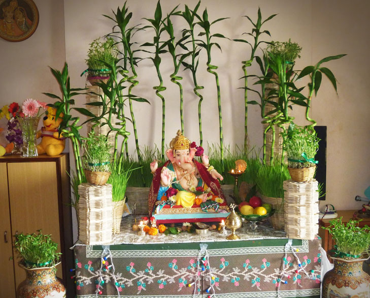 Amazing ganesha decoration ideas for ganesh chaturthi for Background decoration for ganpati