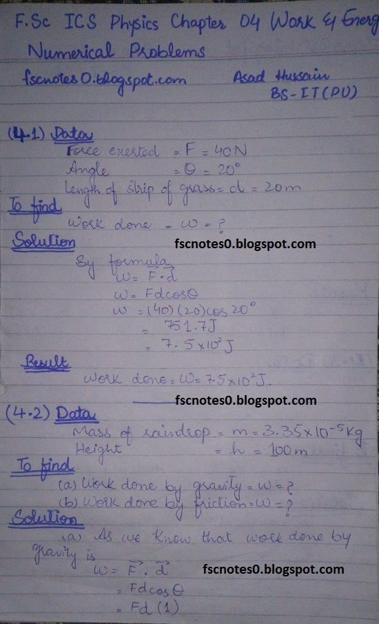 F Sc ICS Notes: Physics XI: Chapter 4 Work and Energy