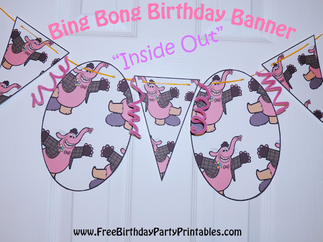 "Bing Bong ""Inside Out"" Birthday Banner - Free Birthday Party Printables"