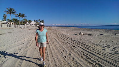 Liz walking on the beach in Los Barriles, Baja California Sur Mexico