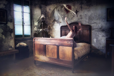 Grim reeper with spirit floating over the bed