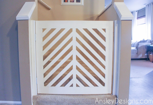 DIY Modern Herringbone Baby or Dog Gate