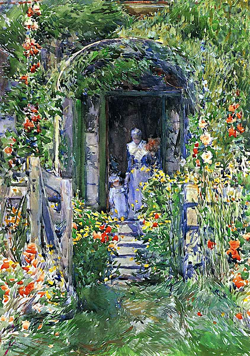 an 1882 Childe Hassam painting of a grassy flowery home entrance