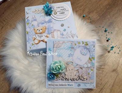 Kartka w pudełku z okazji narodzin chłopca
