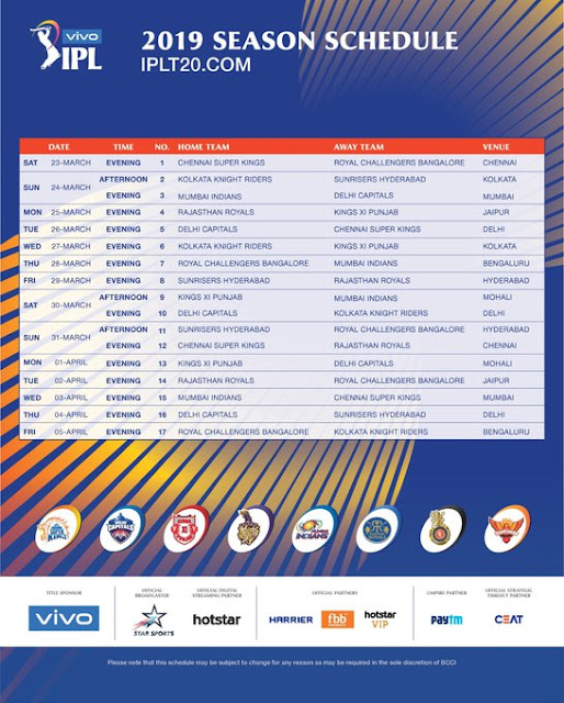 IPL 2019 Schedule – IPL 2019 Time Table PDF Free Download