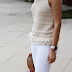 White and Cream outfit with pops of color