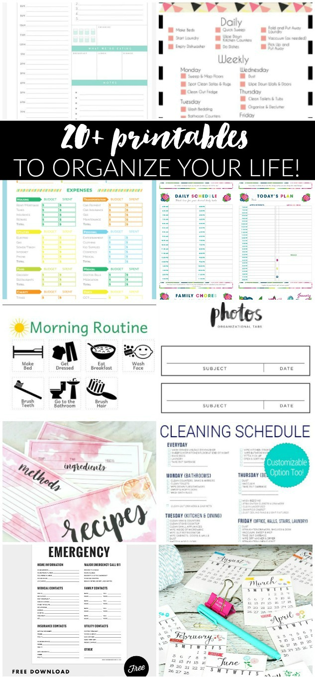 Over 20 printables to organize your life, Printables, organizing