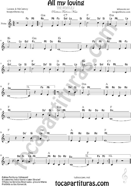 All my loving Partitura Fácil con Notas Principiantes