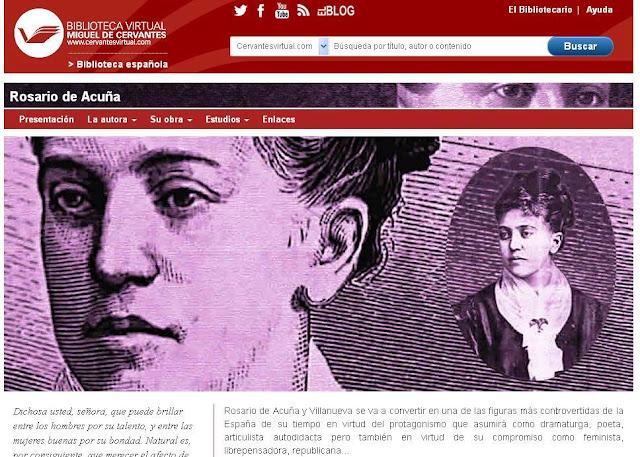 Imagen del portal dedicado a Rosario de Acuña en la Biblioteca Virtual Miguel de Cervantes