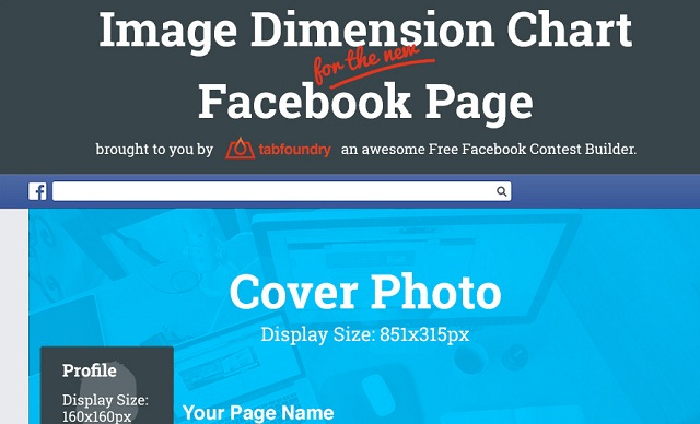 Image: Image Dimension Chart for the new Facebook Page #infographic