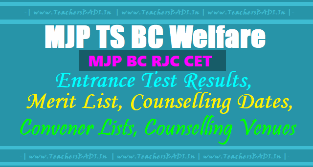 MJP BC RJC CET,MJP TS BC Welfare Entrance test Results, Merit list, Counselling dates, Convener Lists, Counselling Venues