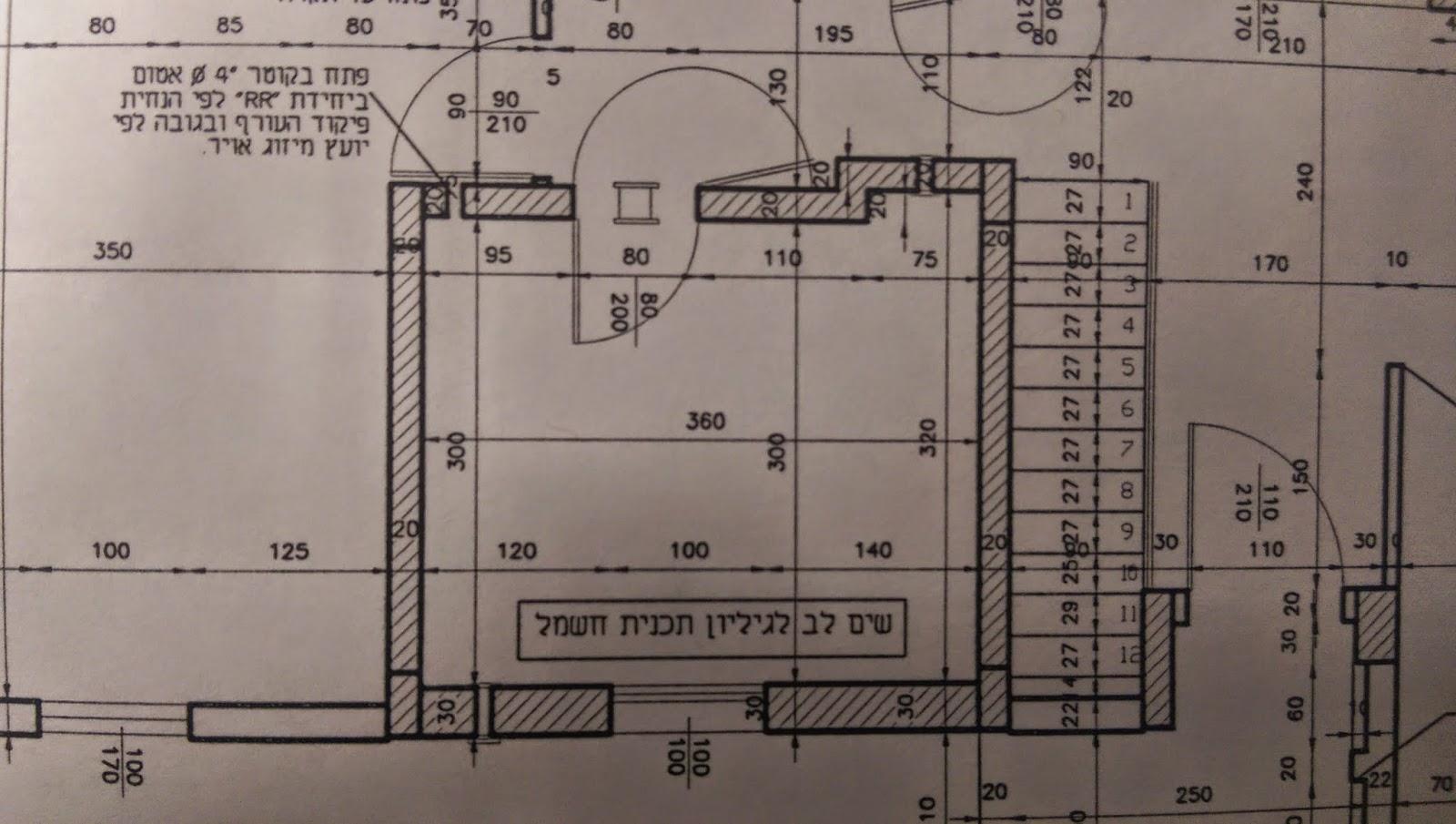 """תוכנית אדריכלית- תוכנית ממ""""ד כולל גדלים"""
