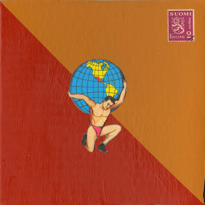 atlas globe mexican loteria suomi Finland postage stamp intersectionality heraldic lion Dada Fluxus collage