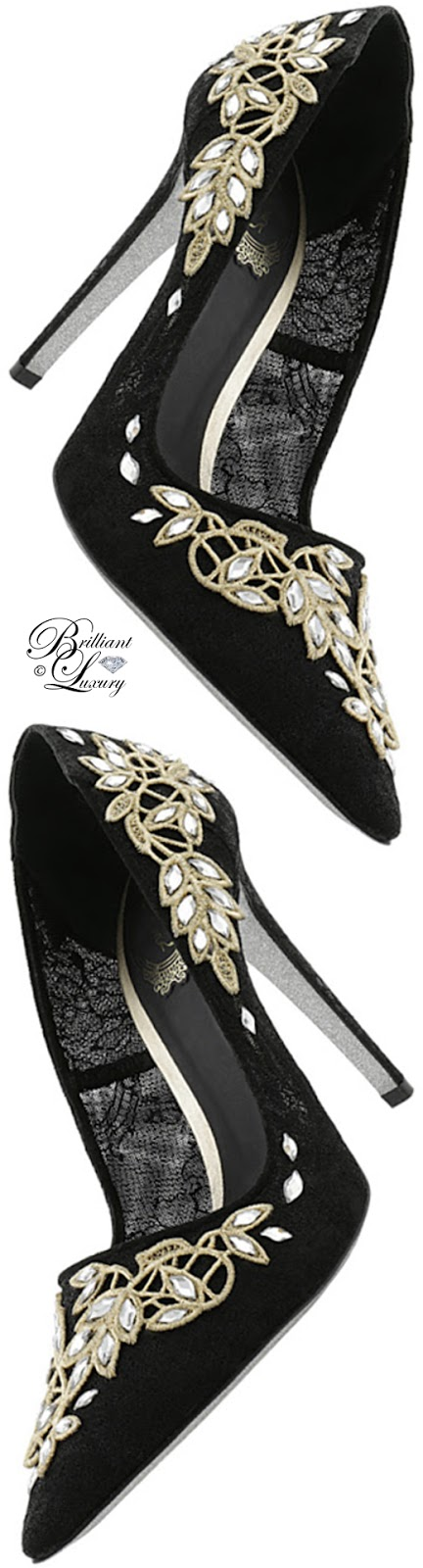 Brilliant Luxury ♦ Rene Caovilla embroidered high heels