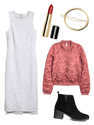 Chinese New Year Style Outfits H&M Calf-Length Jersey Dress | Matte Lipstick in Lenox Lounge | Oval Metal Hair Clip | Quilted Bomber Jacket | Suede Ankle Boots