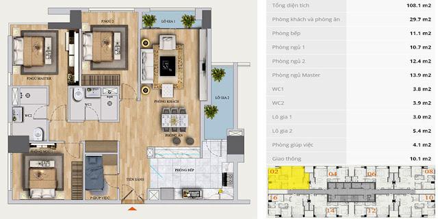 Thiết kế căn hộ 108m2, 3 phòng ngủ, Mon Central